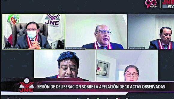 Pleno del JNE revisó ocho expedientes de apelación de actas observadas de la segunda vuelta. (Captura JNETV)