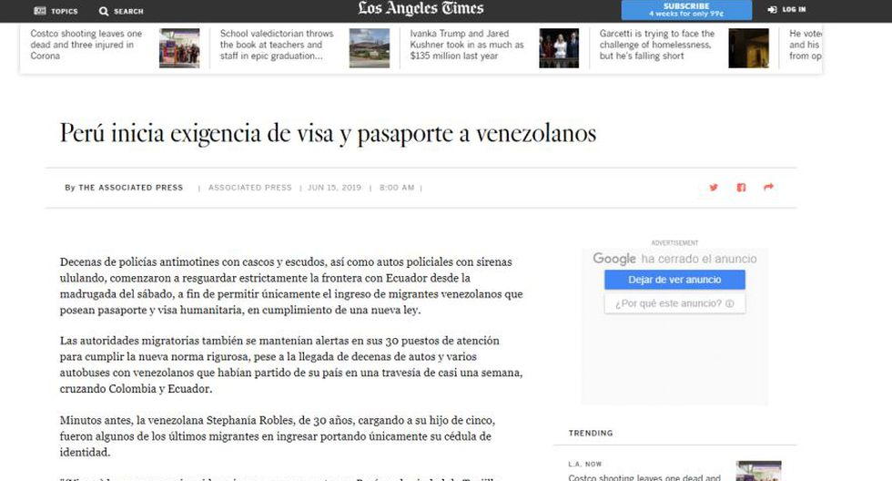 Así informa el medio estadounidense Los Angeles Times sobre la exigencia de visa y pasaporte a los venezolanos en el Perú. (Captura)