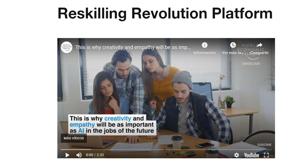 FOTO 5 | 5. Una recuperación colaborativa con una nueva configuración. En enero de 2020 anunciamos en el Foro Económico Mundial la creación de una plataforma denominada Reskilling Revolution dedicada a la mejora de la educación, las capacidades y el empleo para mil millones de personas de aquí a 2030. Actualmente hemos dedicado esta plataforma al apoyo de gobiernos, empresas y educadores para ayudar a los trabajadores y los estudiantes a salir de la crisis, intercambiar mejores prácticas y reconstruir una educación, unas capacidades y unos empleos mejorados para la recuperación posterior a la pandemia.