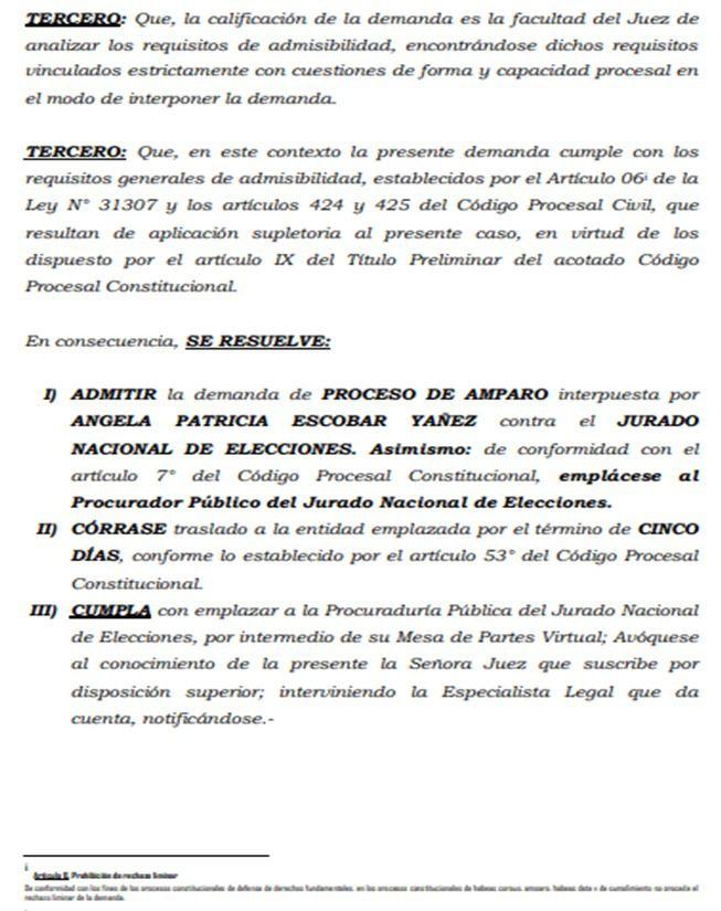 Demanda presentada a favor de Martín Vizcarra. (Foto: Poder Judicial)