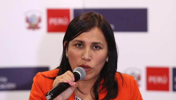 La ministra de Educación, Flor Pablo, se pronunció sobre el anunciado paro de maestros.  (Foto: GEC)