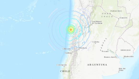 Sismo de mayor intensidad en las regiones de Antofagasta, Atacama, Coquimbo y Valparaíso. (USGS).