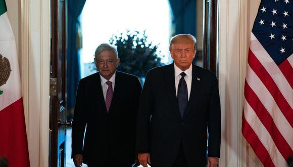 Andres Manuel Lopez Obrador y Donald Trump en la Casa Blanca el 8 de julio del 2020. (Bloomberg)