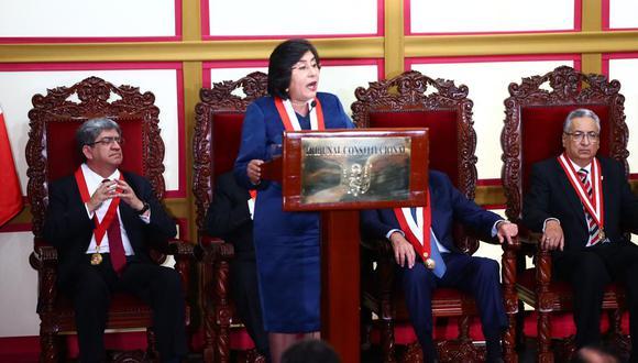 Marianella Ledesma dio un discurso luego de jurar en el cargo de presidenta del Tribunal Constitucional. (Foto: GEC)