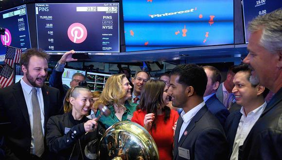 En su primera jornada, Pinterest logró una capitalización de US$15,800 millones.La Oferta Pública Inicial (OPI) de 75 millones de acciones se colocó en US$19. Valor aproximado: US$17,000 millones.(Foto: AFP)
