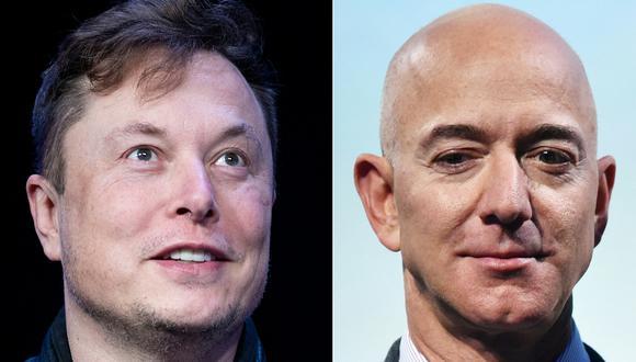 Elon Musk y Jeff Bezos compiten por título del más acaudalado. (Foto:  Brendan Smialowski y MANDEL NGAN / AFP).