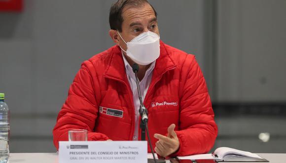 """Martos dijo que intentará contactarse con el presidente del Congreso, Manuel Merino, y algunas bancadas """"para ver que de una vez esta inestabilidad, esta incertidumbre que tiene el país se termine. (Foto: PCM)"""