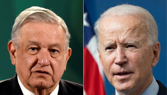 López Obrador y Biden sostuvieron su primera llamada telefónica como jefes de Estado el 22 de enero. (Foto: ALFREDO ESTRELLA and SAUL LOEB / AFP)