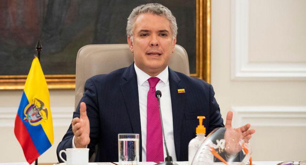 Fotografía cedida por la Presidencia de Colombia que muestra al presidente colombiano, Iván Duque, durante su declaración de este martes en Bogotá (Colombia). EFE/ Presidencia de Colombia