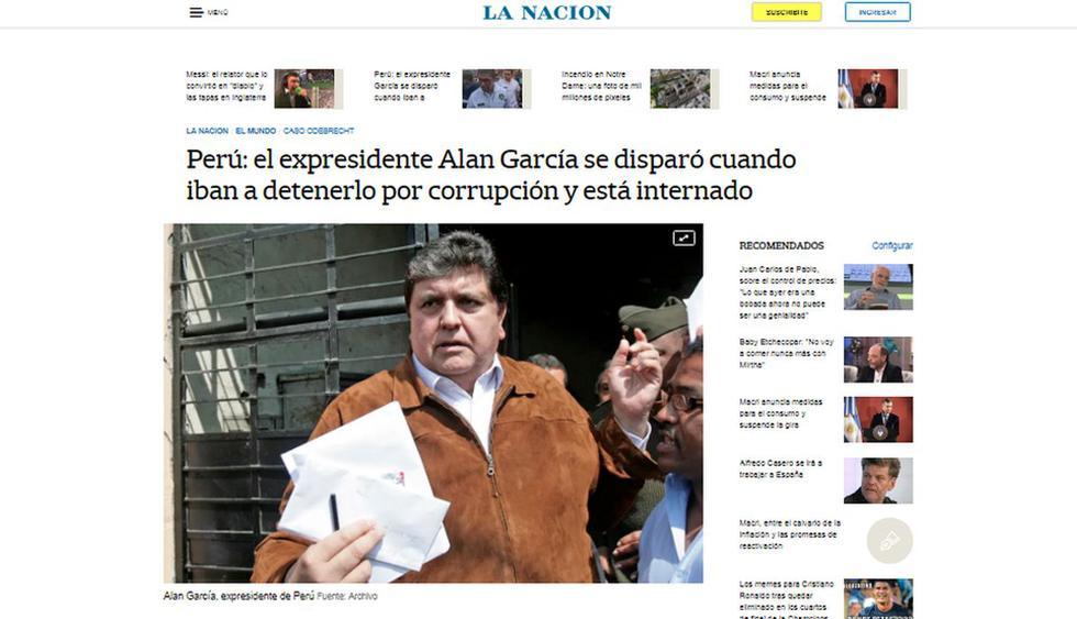 Alan García fue internado de urgencia tras detención. (Foto: La Nación - Argentina)