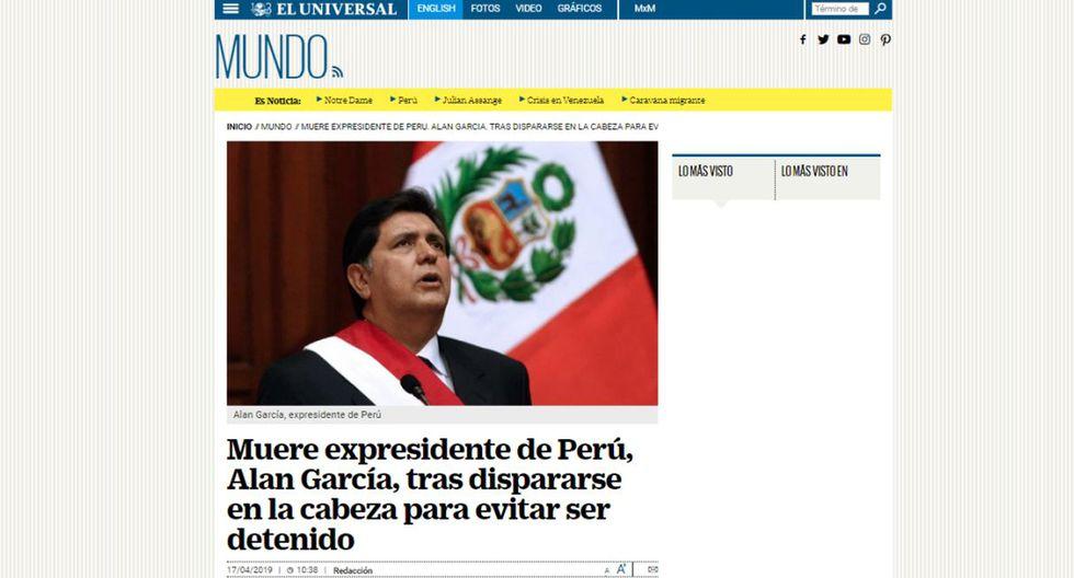 Alan García falleció este miércoles en el hospital Casimiro Ulloa. (Captura: El Universal - México)