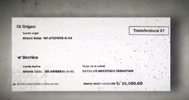 Voucher del primer desembolso fue de S/35 mil. (Captura: América Noticias)