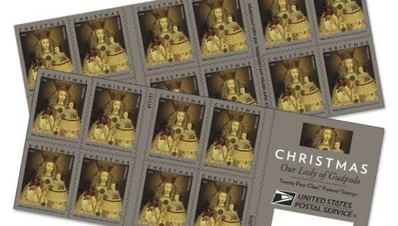 """El Servicio Postal de Estados Unidos (USPS) presentó una estampilla navideña con la imagen de la pintura """"Nuestra Señora de Guápulo"""", creada en el siglo XVIII por un artista desconocido en Cusco, Perú. (Foto: Difusión)"""