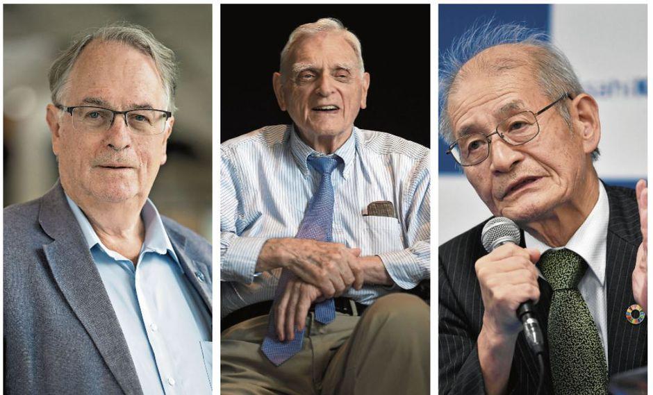 """Nobel de Química: Whittingham, segundo británico en ganar este año. Goodenough, con 97, es el laureado de más edad. Yoshino, """"el secreto es seguir pensando"""", declaró. (Fotos: AFP)"""