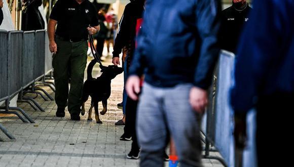 """Un """"equipo canino"""" conduce a dos perros adiestrados a lo largo de la fila que hacen los fanáticos --socialmente distanciados-- antes de entrar al recinto, y les hacen olfatearles las manos. (Foto: AFP/Chandan Khanna)"""
