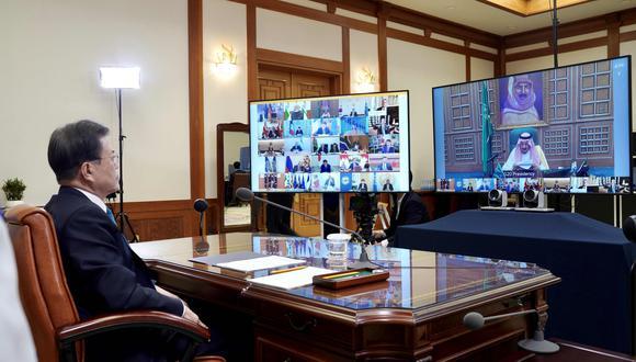 Reunión virtual del G20. (Foto: AFP)