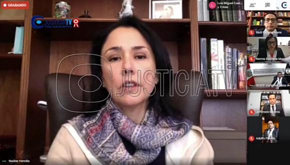Nadine Heredia está siendo investigada por presuntos delitos de organización criminal y otros por el caso Gasoducto. (Foto: Justicia TV)