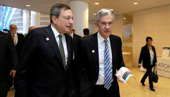 Mario Draghi y Jerome Powell.