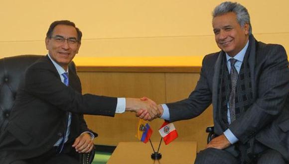 Martín Vizcarra, presidente del Perú, y Lenin Moreno, presidente de Ecuador, se reunirán la próxima semana. (Foto: Cancillería de Ecuador).