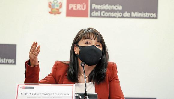 Decisiones. La primera ministra, Mirtha Vásquez, indicó que todos los ministros están en constante evaluación. (Foto: PCM)