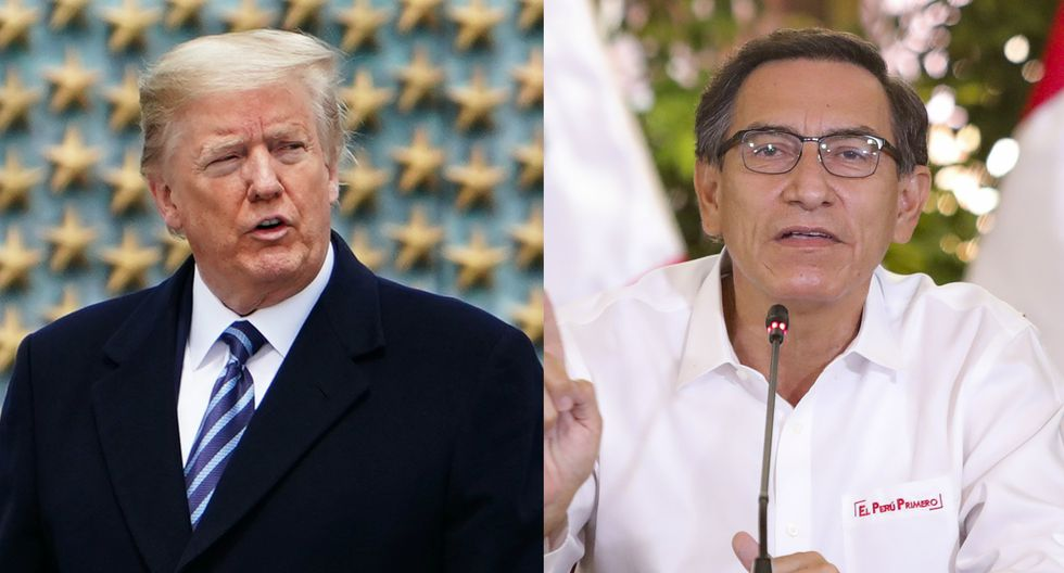 Los dos líderes conversaron este sábado por teléfono. En la imagen, Donald Trump y Martín Vizcarra. (AFP - MANDEL NGAN / PRESIDENCIA PERÚ).