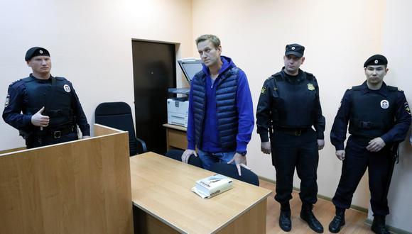 El líder de la oposición ruso, Alexéi Navalny, cuando asistió a un nuevo juicio en el juzgado del distrito de Simonovsky. | Foto: EFE