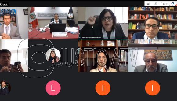 La fiscal Geovana Mori solicitó 36 meses de prisión preventiva contra Nadine Heredia, Luis Castilla y Eleodoro Mayorga por el caso Gasoducto. (Foto: Captura de Justicia TV)